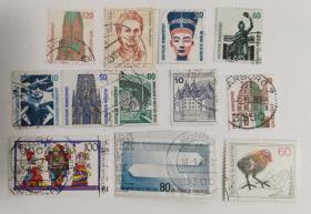 外国邮票联邦德国信销票(12枚没有重复不是一套票)