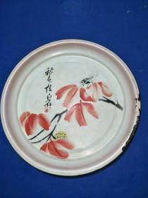 文革时期搪瓷茶盘,齐白石蝉趣