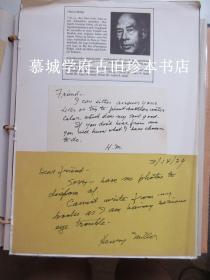 【稀见】亨利 米勒(HENRY MILLER 1891-1980)的亲笔信两封