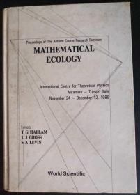 英文原版:Mathematical Ecology(数学生态学)