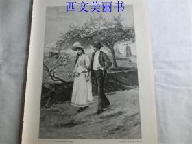 【百元包邮】1890年木刻版画《复活节假期小径上的情侣》 (Osterferien) 尺寸约41*28厘米(货号 M2)