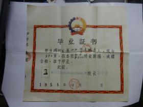 1958年毕业证书   38*41