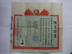 1952年结业证书(江西省财政经济专科学校)【有毛头像和本人照片】34*36