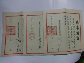 1955年南昌市机关企业干部业余文化学校《结业证书》结业证书(3份) 【南昌市前市长张云樵签发】同1个人