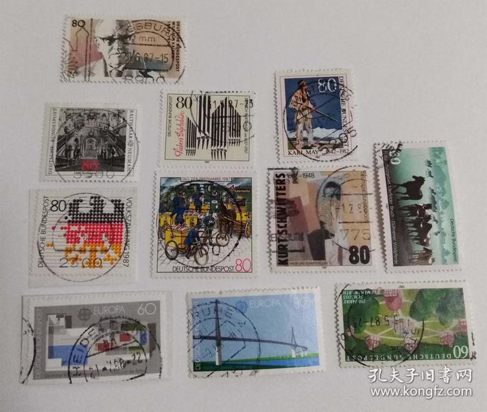 外国邮票联邦德国信销票(11枚没有重复不是一套票1987年发行)个别票是全戳