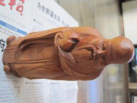 回流《老黄杨木雕老寿星》雕工很好