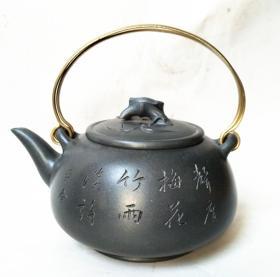 国家级高级工艺师,当代陶艺名家周荣金梅竹天青泥铜提梁紫砂壶