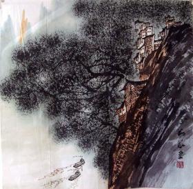 保真*刘义*四尺斗方山水画精品*N137