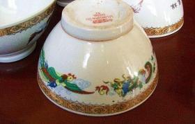 八十年代初,醴陵五彩碗四只