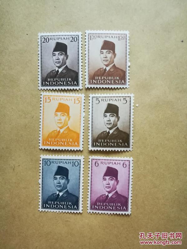 外國郵票 印度尼西亞郵票 6枚(貨號:乙32-4)