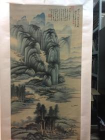 張大千  青綠山水  煙江疊嶂   高清復制畫