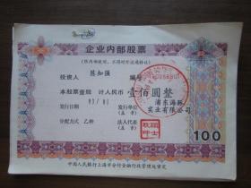 上海市浦东海豚实业有限公司内部股票20张连号(面值100元)