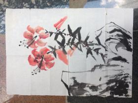 《一品红花卉》水墨画---原画