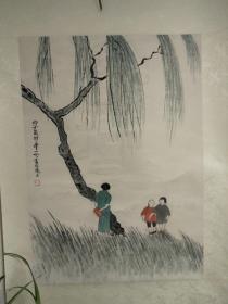 丰子恺之女、著名女画家、翻译家 丰一吟 1996年人物画《师生情》一幅(纸本立轴,约2.6平尺,钤印:一吟)