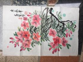 《桃花花卉图》庚辰年春月作---原画