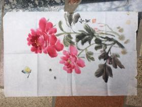 《牡丹花卉图》金宝写作---原画