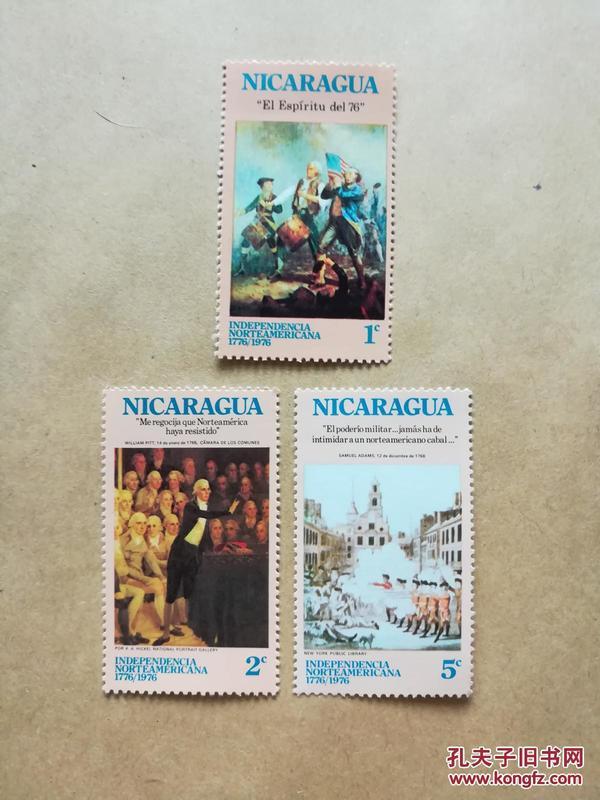 外國郵票 尼加拉瓜1976年郵票 美國獨立戰爭3枚(貨號:乙39-4)
