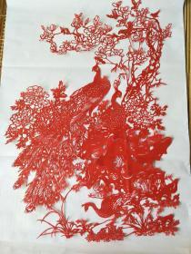 国家非物质文化遗产  纯手工老艺人手工剪纸大孔雀