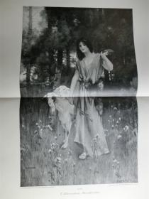 【现货 包邮】1890年巨幅木刻版画《静夜》(Abendfrieden)尺寸约56*41厘米  (货号100618)