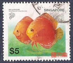 外国邮票-新加坡【漂亮的一对观赏鱼】面值5元,不揭齿,无揭薄上品信销邮票