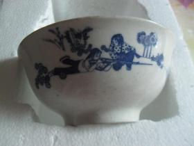青花瓷女民兵60年代(军区后勤部食堂)大瓷碗