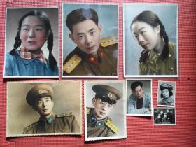 五十年代彩色老照片一组 军人照(六张彩色照两张黑白照共八张)照片尺寸大小和内容看图