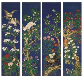 微喷书画 蒋廷锡 花鸟画四条屏 25X100厘米X4张