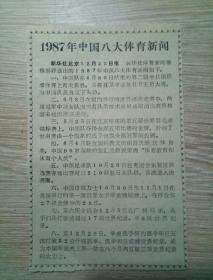 1987年中国八大体育新闻。