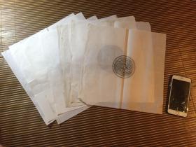【铁牍精舍】【金石佳品】70年代故宫博物院手拓铜镜拓片7种,无钤印标记,所选皆为汉唐名品,拓制精良,颇为难得,34x34cm