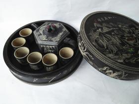 澄泥石雕八仙庆寿图六方茶具一套
