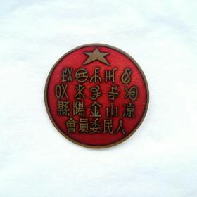 解放初,西南凉山金阳县人民委员会珐琅彩流金铜章。(当地象形文字,汉字,双文字早期大个铜徽章非常珍贵罕见,品好)