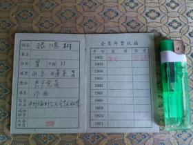 60年代:中国福利会儿童艺术剧院著名作曲家 张鸿翔 会员证(张曾经参与舞剧《白毛女》创作)