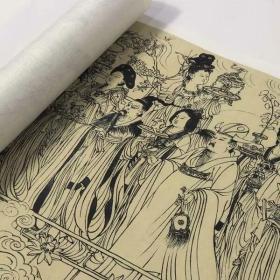吴道子 八十七神仙卷  道教题材白描人物手卷国画古画真迹高清复制