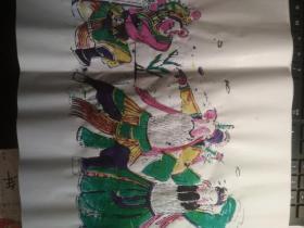 山东曹州木版年画-戏曲人物五色套印《戏曲人物无款识3》