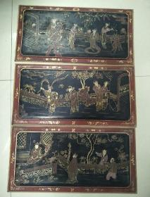 清末大漆画板3片