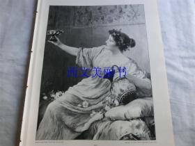 【现货 包邮】1890年木刻版画《美酒》(Bacchantin)尺寸约41*29厘米  (货号 18018)