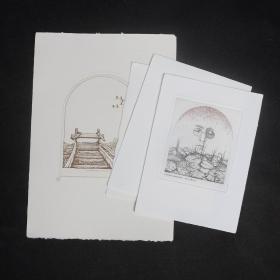 波蘭版畫家 ZBIGNIEW JANECZEK 銅版藏書票 4張合售 鉛筆簽名