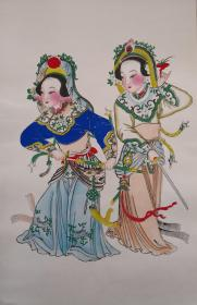 稀见!清代版七八十年代印杨柳青木刻木版年画版画*半印半绘侍女图之白蛇青蛇