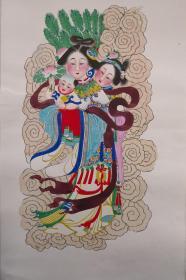 稀见!清代版七八十年代印杨柳青木刻木版年画版画*半印半绘侍女图之送子天仙