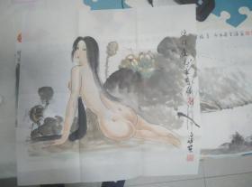 【珍罕 钟金胜 国画】美女出浴图
