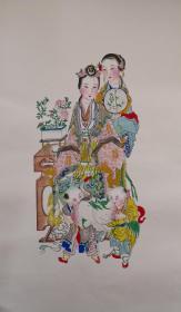 稀见!清代版七八十年代印杨柳青木刻木版年画版画*半印半绘侍女图之鹤寿童子