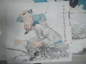 【珍罕 钟金胜 国画】老叟少儿秋趣图
