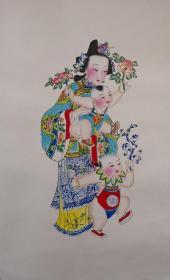 稀见!清代版七八十年代印杨柳青木刻木版年画版画*半印半绘侍女图之折桂童子