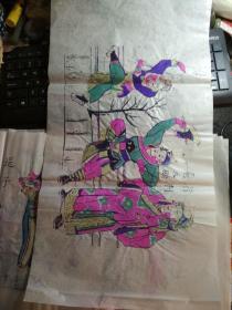 山东曹州木版年画-戏曲人物彩色套印《行刺普天鹏》