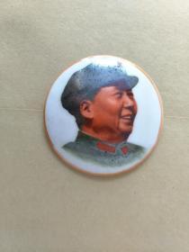 毛主席瓷像章,4.5CM。反面山东省博山陶瓷厂革命委员会敬制