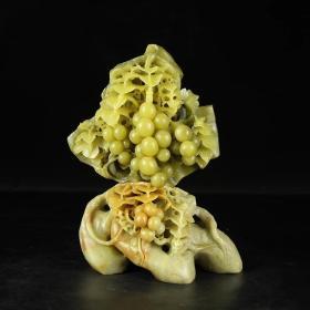 青田石雕精品摆件 竹叶冻葡萄硕果累累手工雕件 收藏礼品