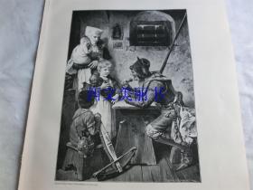 【百元包邮】1890年木刻版画《饥饿的客人》Ein hungriger Gast 尺寸约41*28厘米(货号 18016)