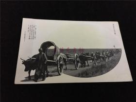 民国时期日本旧明信片2张:一张彩色,中国古寺院(背面印有香港英文)和一个僧人。一张黑白,为热河省清末百姓赶牛车行走的旧影。包邮