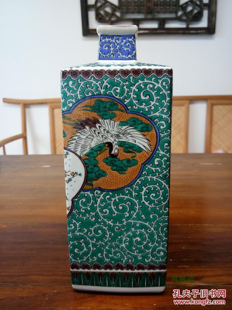 九谷烧花入 角花瓶 仙鹤鸳鸯纹样 日本匠人手造进口