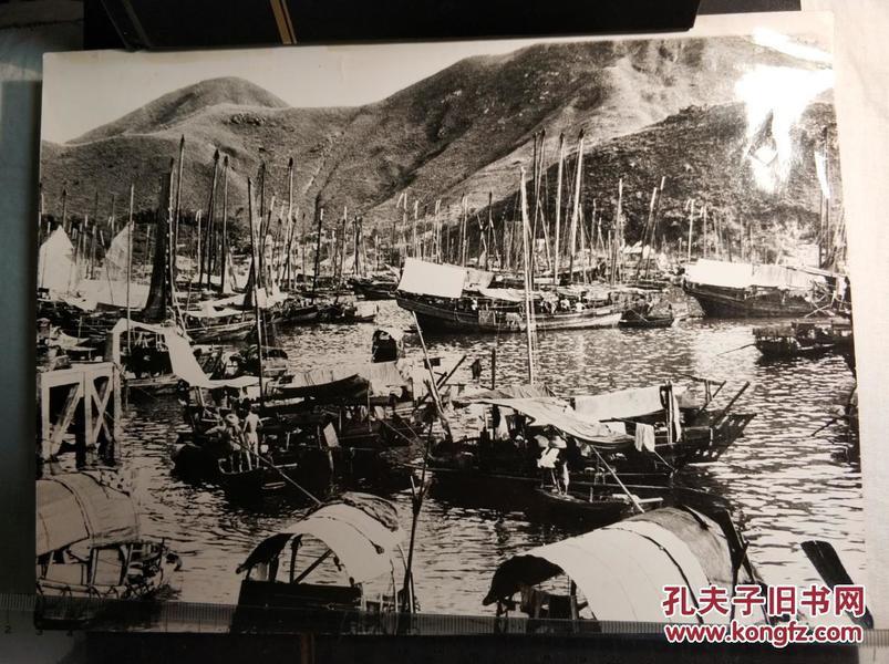 民国香港九龙渔船停泊新闻老照片一张